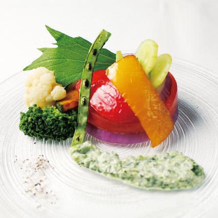 ·開胃菜·綠黃色蔬菜的變化〜醬汁〜