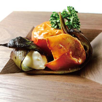 ·開胃小菜·加莫茄子和水果番茄〜馬斯卡彭的花崗岩〜