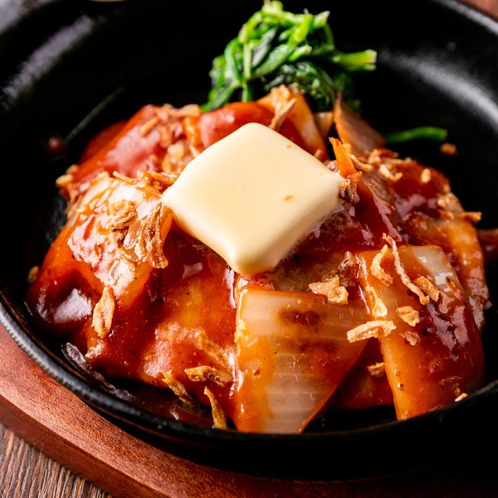 厚切り豚三枚肉の鉄板焼き A1ガーリックソース