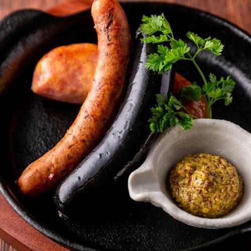 阿古豬肉的三種香腸拼盤