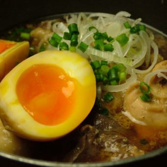 Simmered chicken with a tamago egg