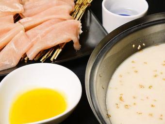 使用未经稀释的胶原蛋白!白水汤鸡肉包裹涮涮锅100分钟吃所有你可以喝3600日元