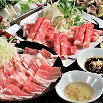 카미 후라노 산지 양돈 & 도산 특상 생 양고기의 2 종 샤브샤브 100 분 먹고 맘껏 마시기 4100 엔