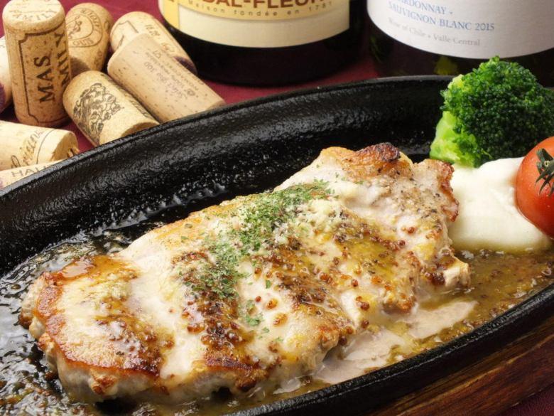 豚ロース肉の鉄板焼き焼き マスタードハニーソース
