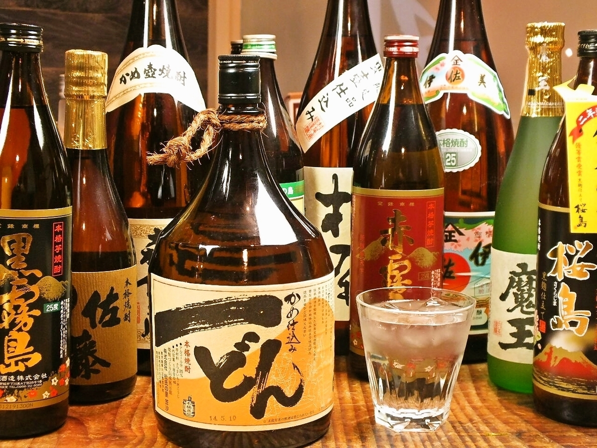 Rare shochu as well! Many stocks of local sake in various parts of Kyushu.
