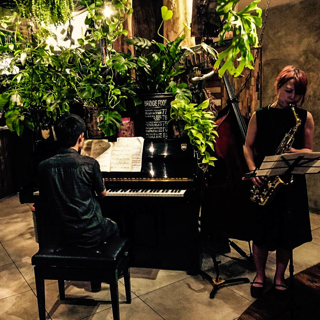 【Gentle live session ♪】 【Live performance by exclusive professional pianist & saxophonist】 The mellow session of piano and sax by a professional musician excites the atmosphere.A gentle live sound echoes in your heart.Jazz/Classic