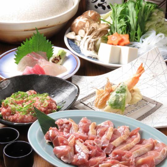 【要予約】百日鶏の水炊き・すき焼きコース4000円(税別)