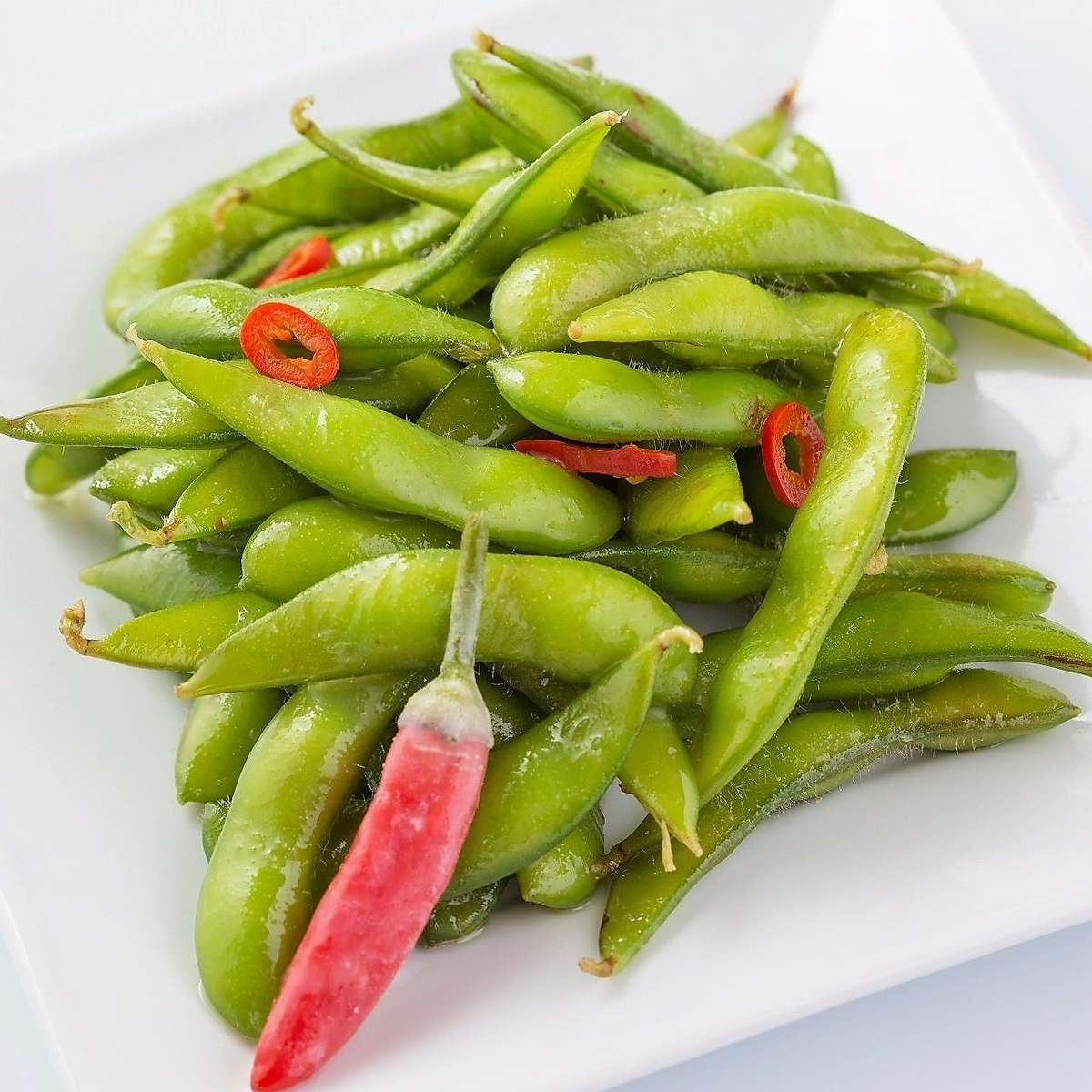 Edamame beans finished with peperon oil