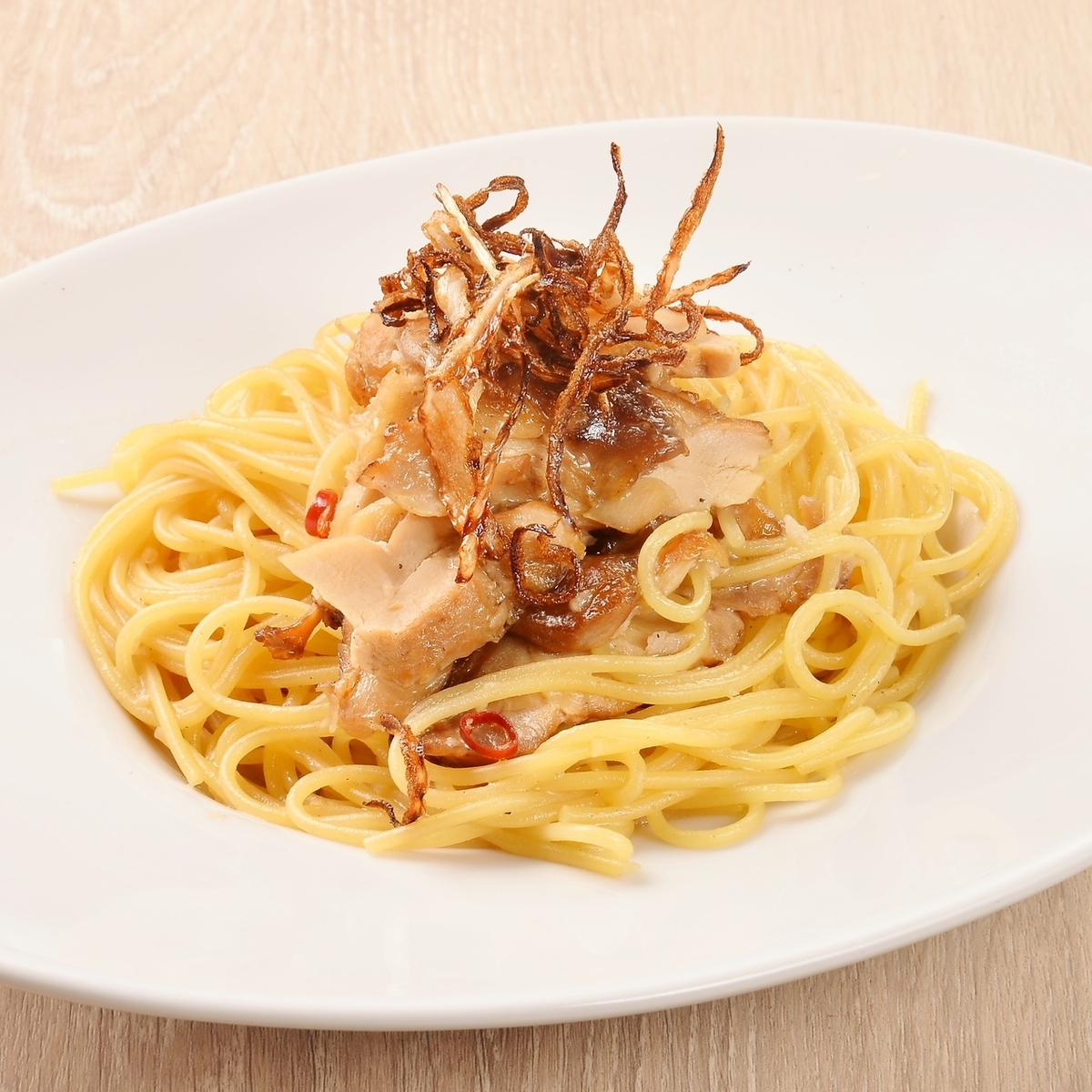 Japanese style pasta with smoked chicken