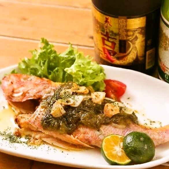 Grilled fish with butter in Okinawa