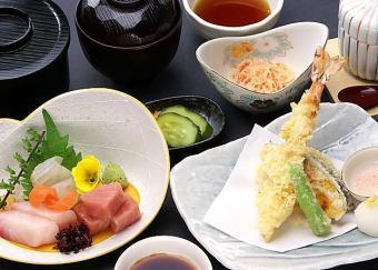 Sashimi tempura set menu