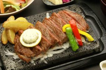 요 네자와 쇠고기 등심 스테이크 정식 (180g) (요 네자와 쇠고기 A5 랭크 사용)
