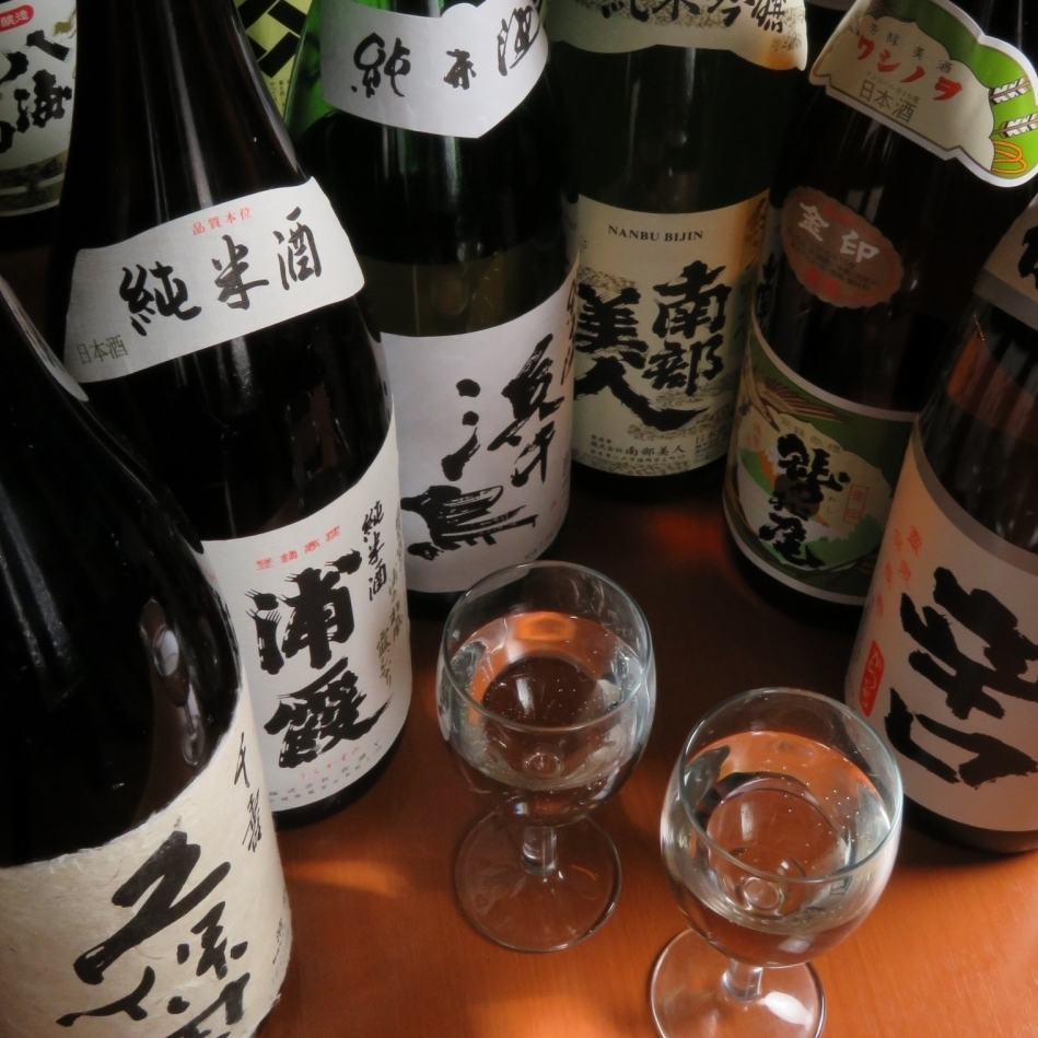 A large selection of distinctive local sake