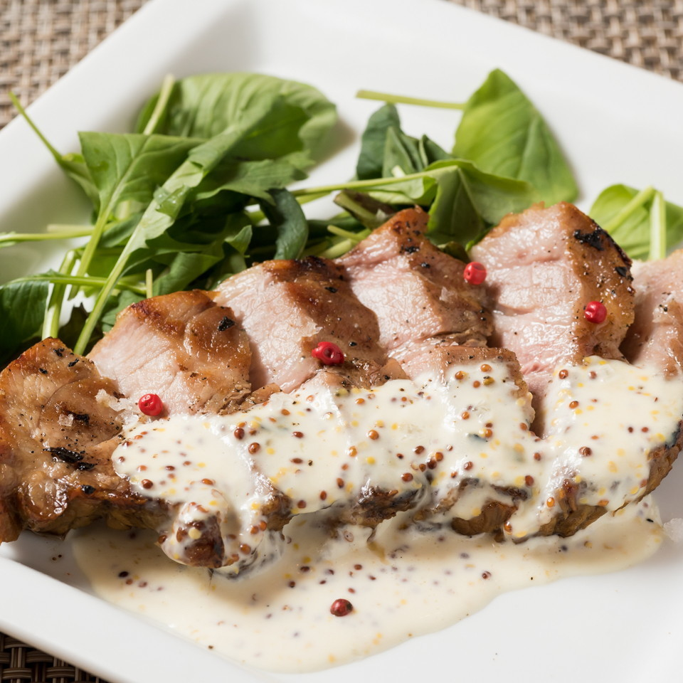 Roasted pork mustard cream