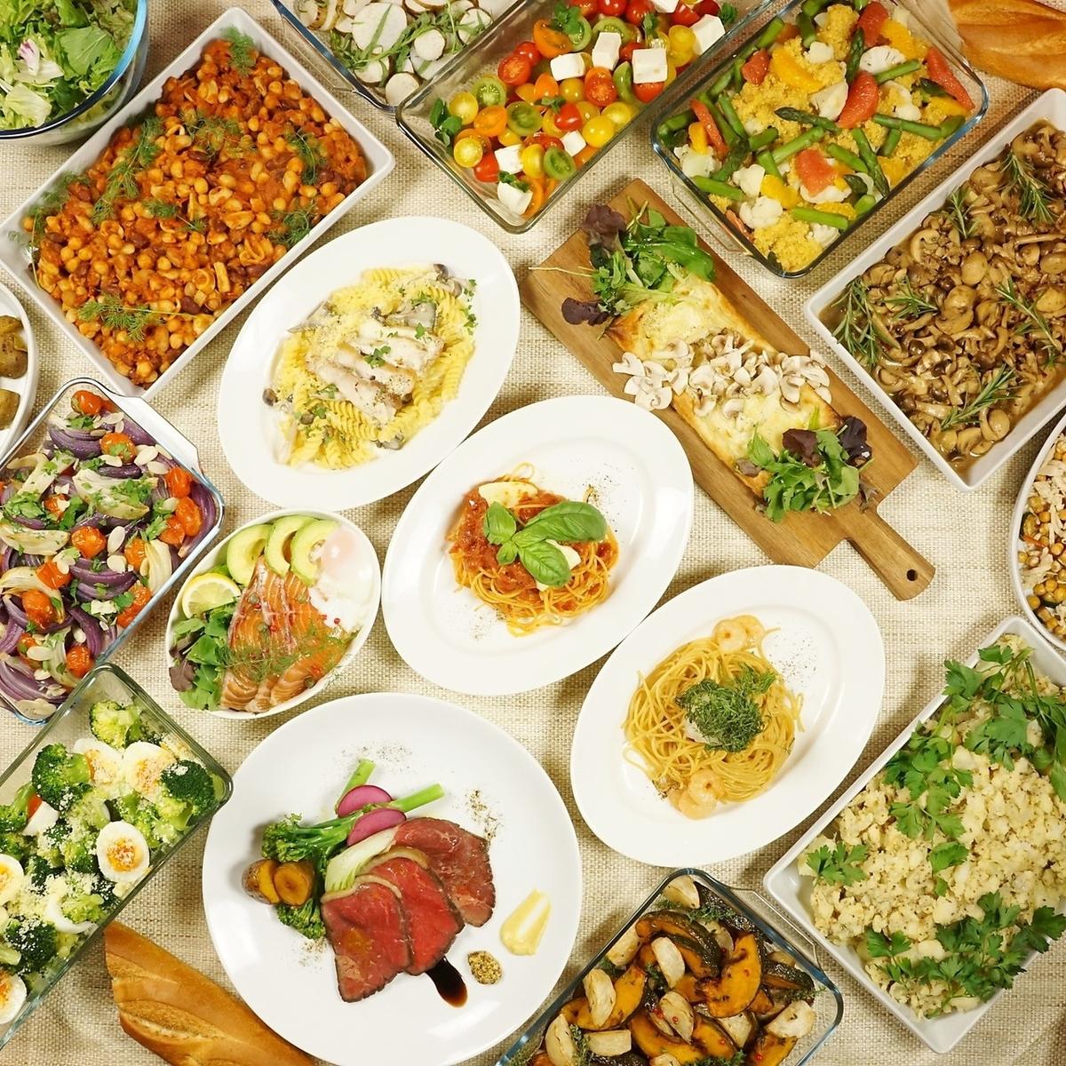 【ランチパーティプラン】サラダバー・惣菜ブュッフェ・120分飲み放題付き!特製パスタとメインを楽しむ