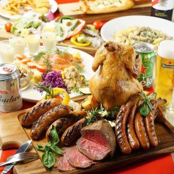 ◇夏の宴会/2H飲み放題付◇塊肉の切り落としロースト等の肉盛りバーベキュープレートを楽しむ