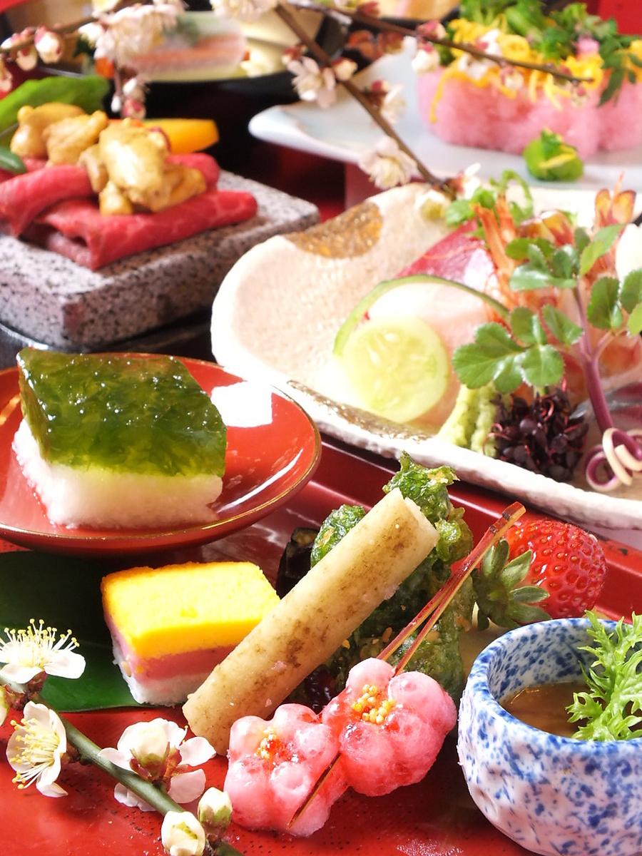 Ten all goods kaiseki seven lunch noon