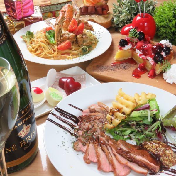 ★圣诞晚会★用2小时的全友可以喝!所有8种4200日元,包括整个烤鸡