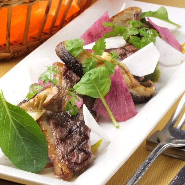 Fluke duck, Kawada plantation of eggplant and a wall thickness of shiitake mushroom grill