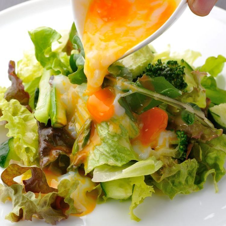 Green salad with mature eggs Japanese-style dressing