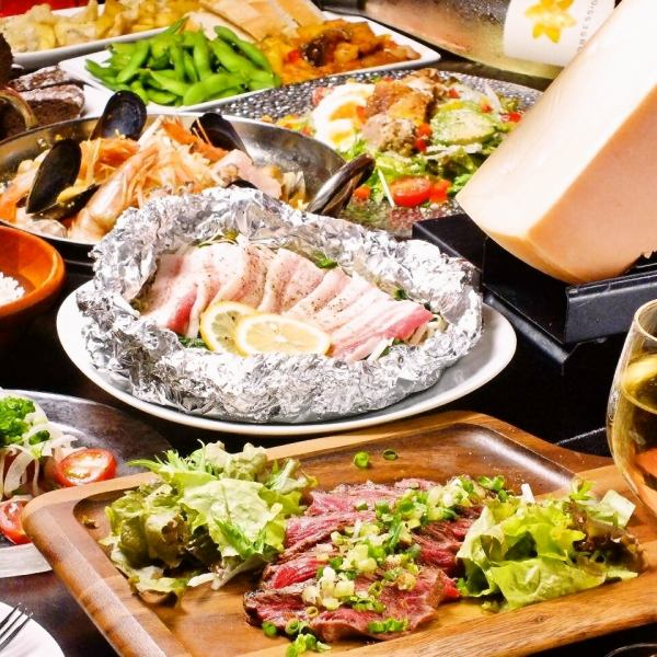 All 9 dishes with unlimited drinks 【Tataki of bovine thighs and popular ◎ Raclette cheese course】 6000 yen tax excluded 【Banquet / charter】