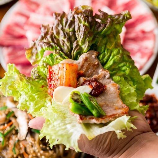 正宗的韩国味道☆[Samukyopusaru吃全友畅饮套餐]无限<所有11个菜>3980日元2H喝!