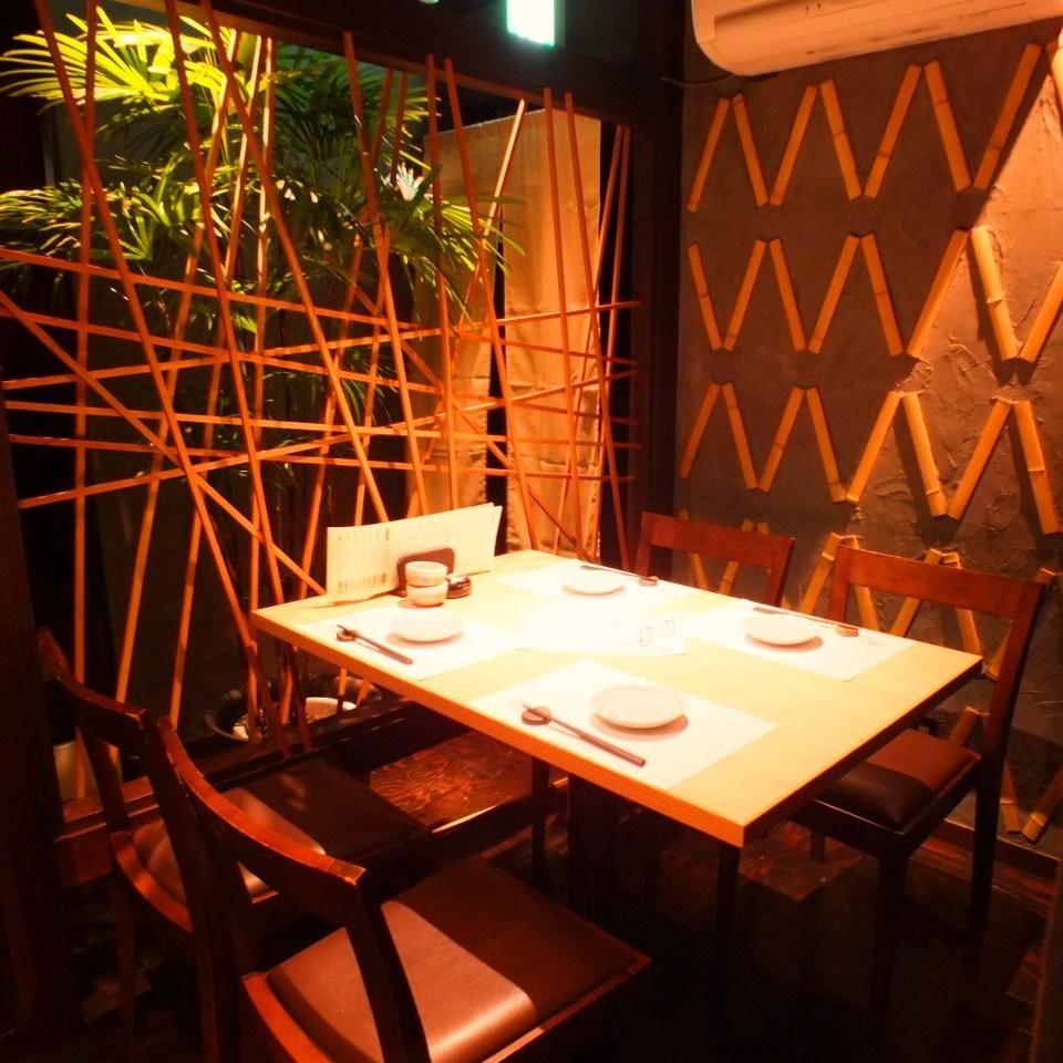 [4 인 테이블 석】 일본식 모던 한 점 한 단계 떨어졌다 내실은 반 독실과 같은 감각으로 사용할 수 있습니다.