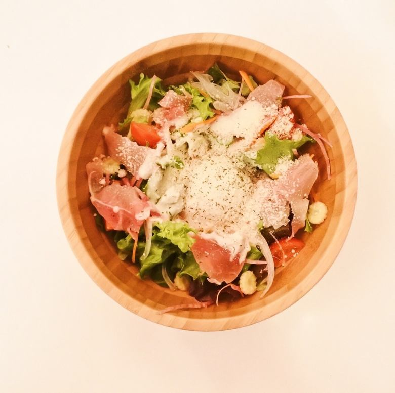 Italian-made ham and Caesar salad
