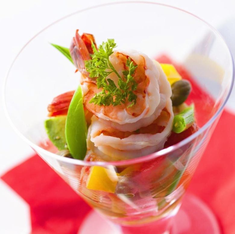 Italian cocktail salad with shrimp and avocado