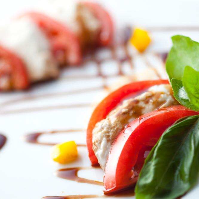 Caprese of fresh tomato and mozzarella cheese