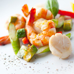 Seafood and avocado butter saute