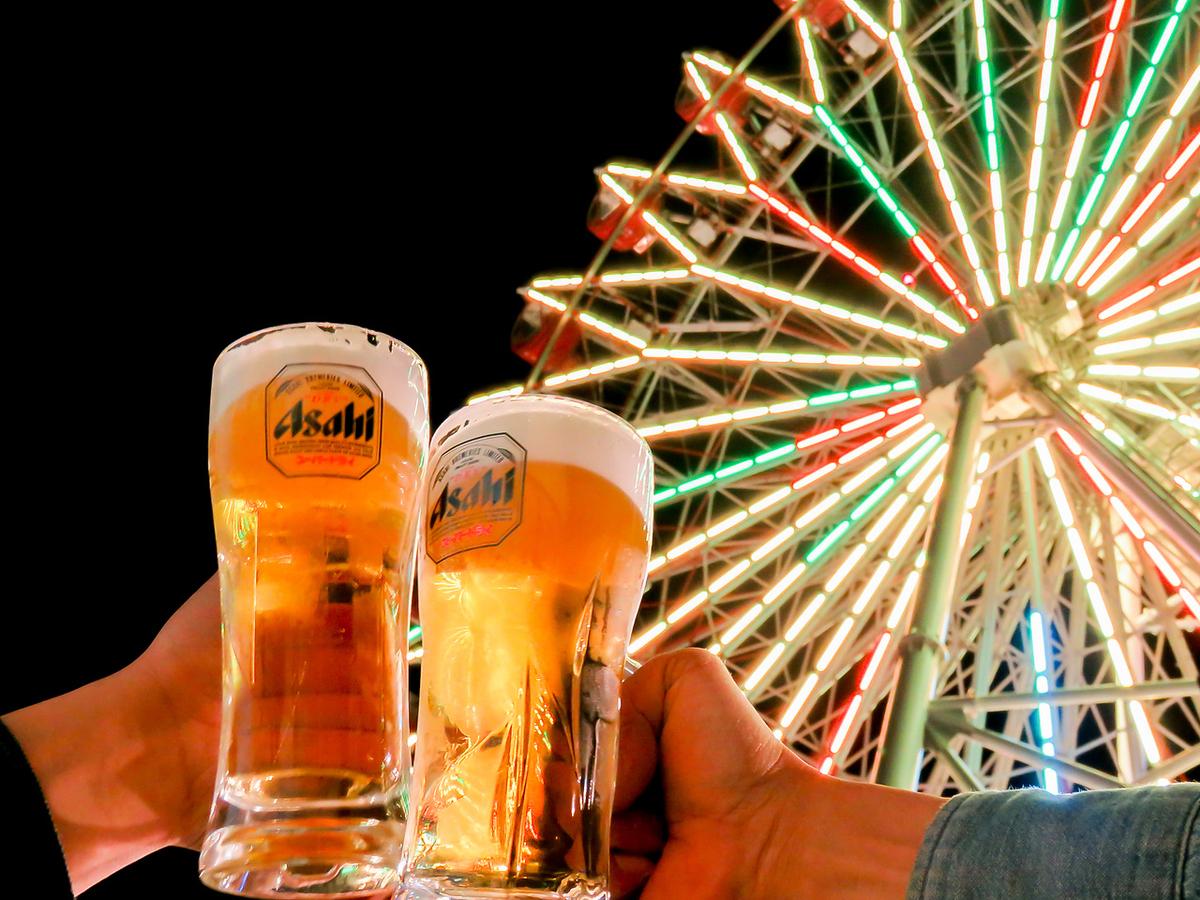 Asahi Super Dry!Quinch上的冷啤酒!屋顶上的摩天轮霓虹灯进一步增强了氛围!