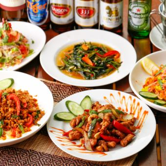 "◆ [Thai / Vietnamese food] ""Wild Lotus course"" with all-you-can-drink for 2 hours 4500 yen → 3500 yen"