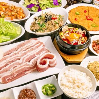 """2 hours all-you-can-eat Samgyeopsal"" All 7 items are very popular ★ Korean food ★ [3480 yen → 2480 yen]"