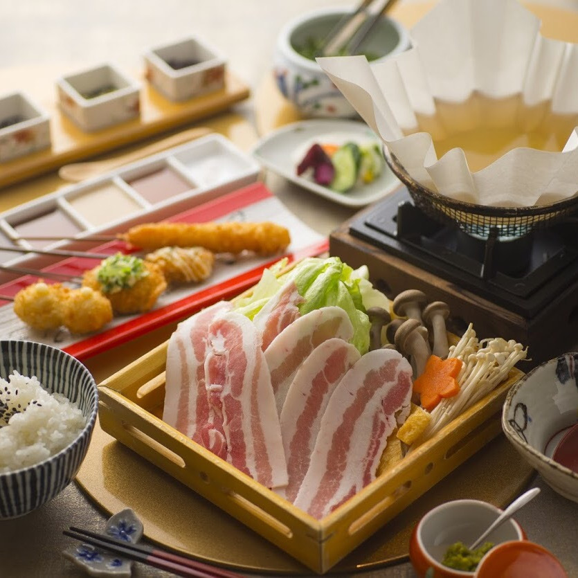 Kagoshima prefecture 6 white black pig used shabu-shabu set menu