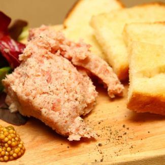 Paste of raw ham and cream cheese