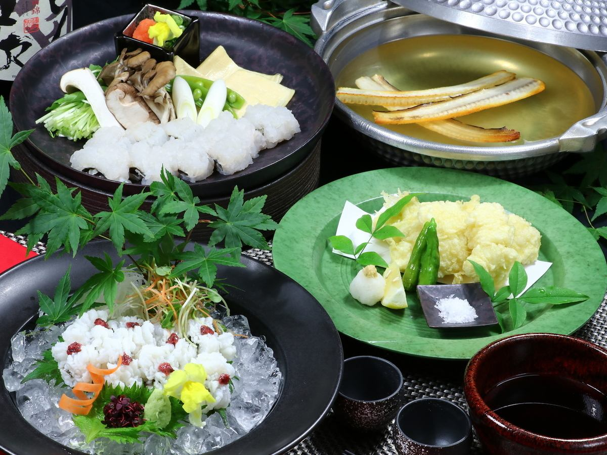 Summer only! Hamo cuisine ... the best dish and sake ... the moment of bliss ...
