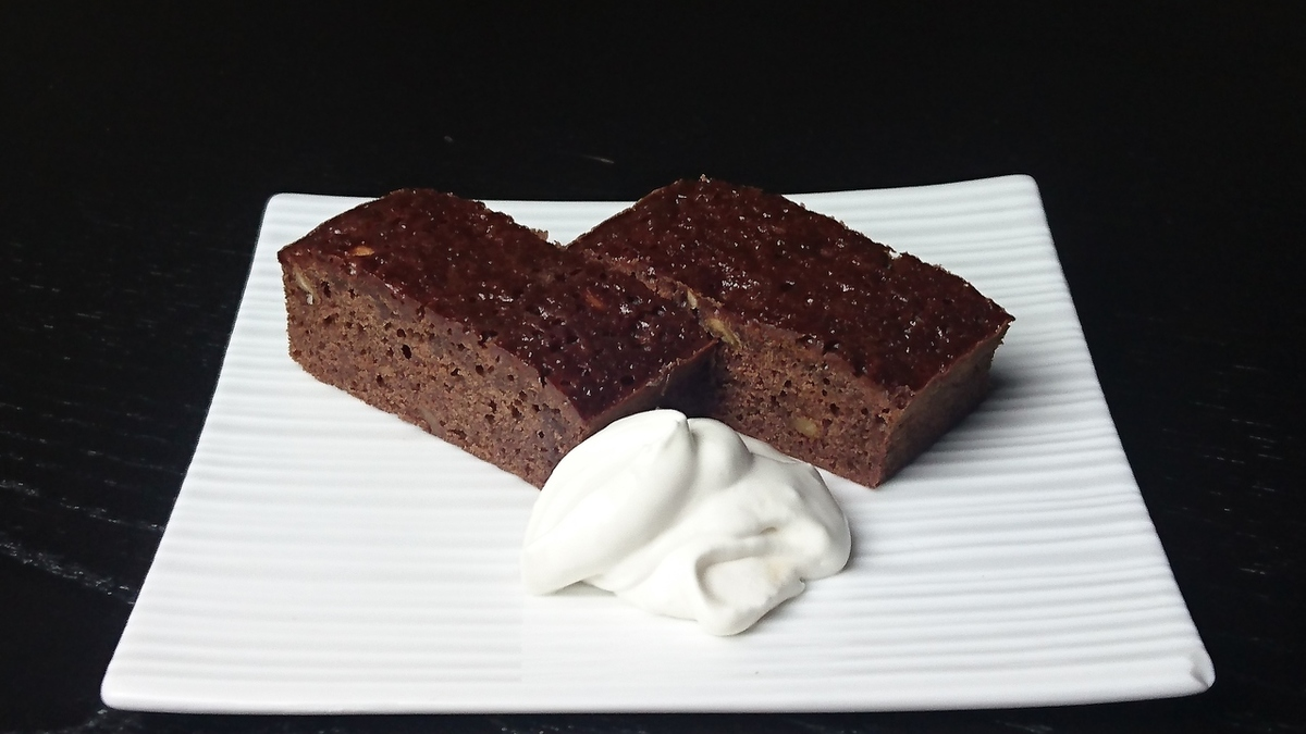 Chocolate brownie with sweet bean with whipped cream