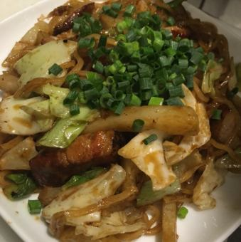 Homemade bacon and potato sauce fried noodles