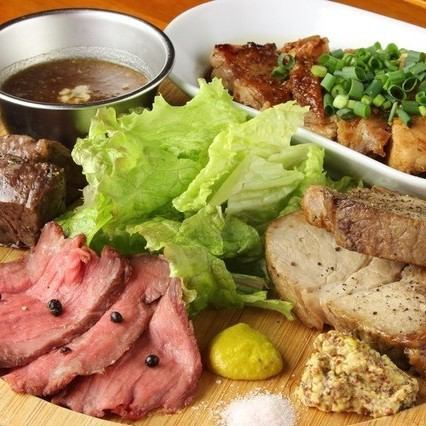 """Meat buildup plate"" that you can enjoy the four kinds sticking to attention"