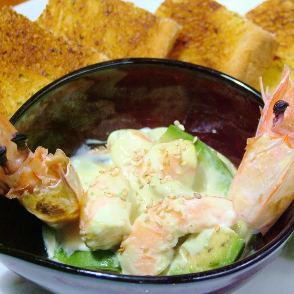 虾和鳄梨塔塔(2条鱼)
