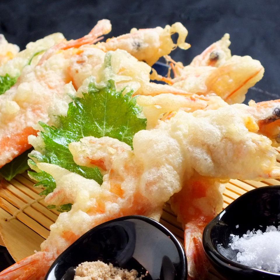 天使的虾天妇罗(2尾)〜佐渡的深海盐(Mishio)陪同〜