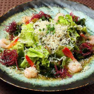 Salad with shrimp and shrimp fish shrimp with shrimp