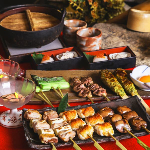 """Overwhelming support rate !!"" With all-you-can-drink for 3 hours! Course using plentiful ingredients such as yakitori and skewered fried skewers ♪ Shinjuku Izakaya"