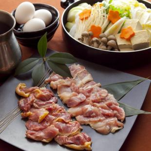 """【Limited time offer】 9 items including 3 hours of all you can drink + Sukiyaki Pot of red chicken """"Top Chicken Sukidaya course"""""""