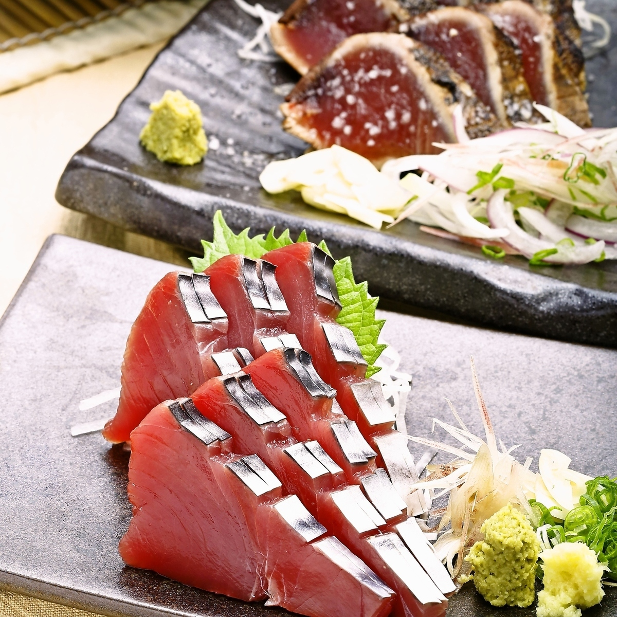 梅美丸的bon魚(鹽tataki +醬皮+ bon魚生魚片)