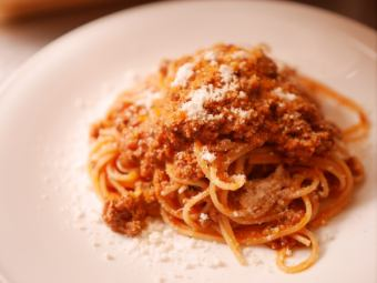 Bologna style homemade meat sauce spaghetti