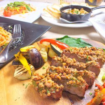 【Grilled chestnut pork nut mustard】 7 items in total 3000 yen ★ girls party course