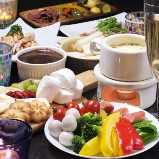 【New appearance!】 Cheese Fondue Course All 9 items 3 hours Having ceremony with unlimited drinks Normally 4000 ⇒ 3000 yen discount ♪