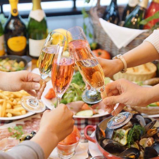 【休閒冬季派對】120分鐘飲用3500日元~12種葡萄酒飲用,享用扇貝和雞肉炒〜